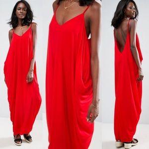 ASOS Drape Hareem Red Maxi Dress Jersey Open Back